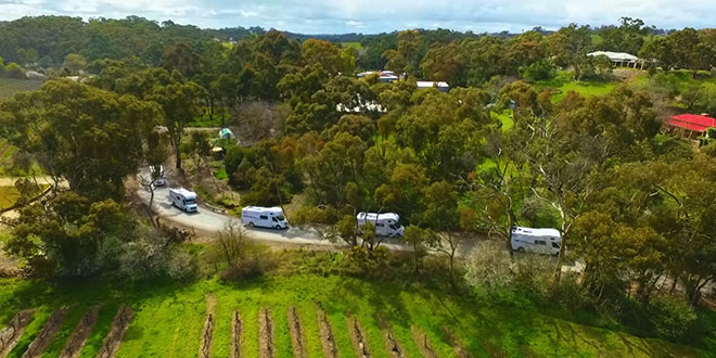 Motorhome convoy, in Clare, South Australia on their way to a Caravan Park